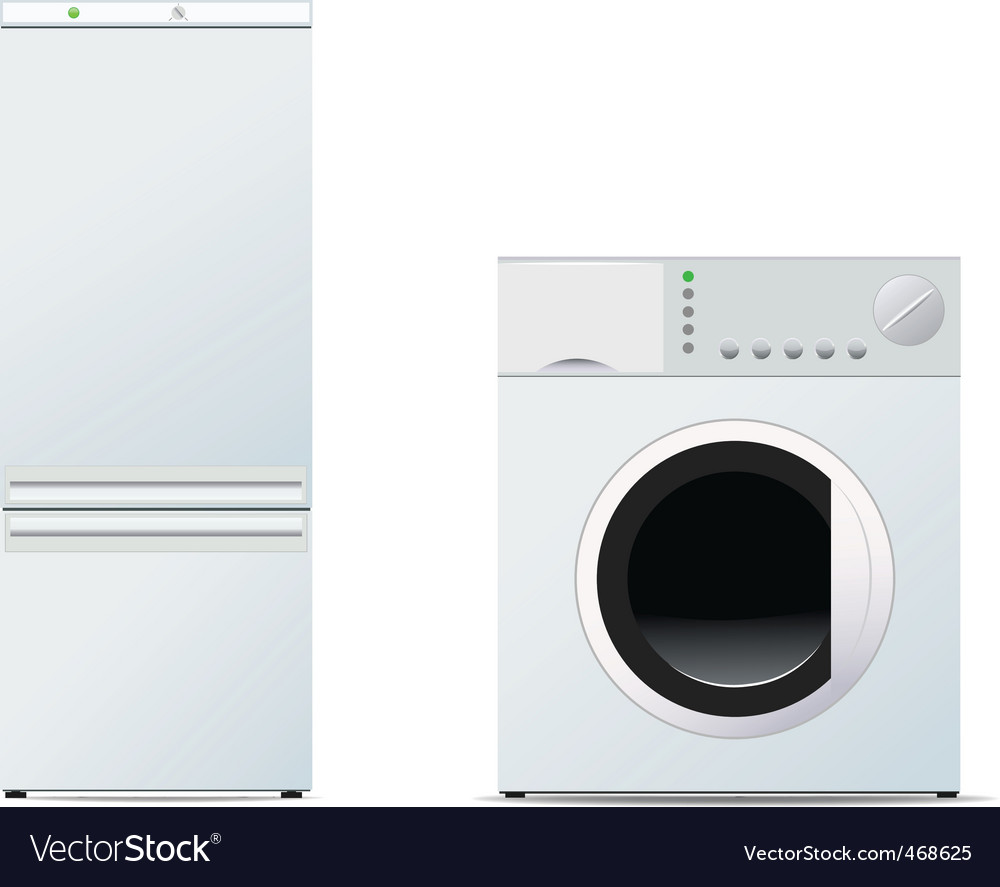 Refrigerator and washing machine vector | Price: 1 Credit (USD $1)