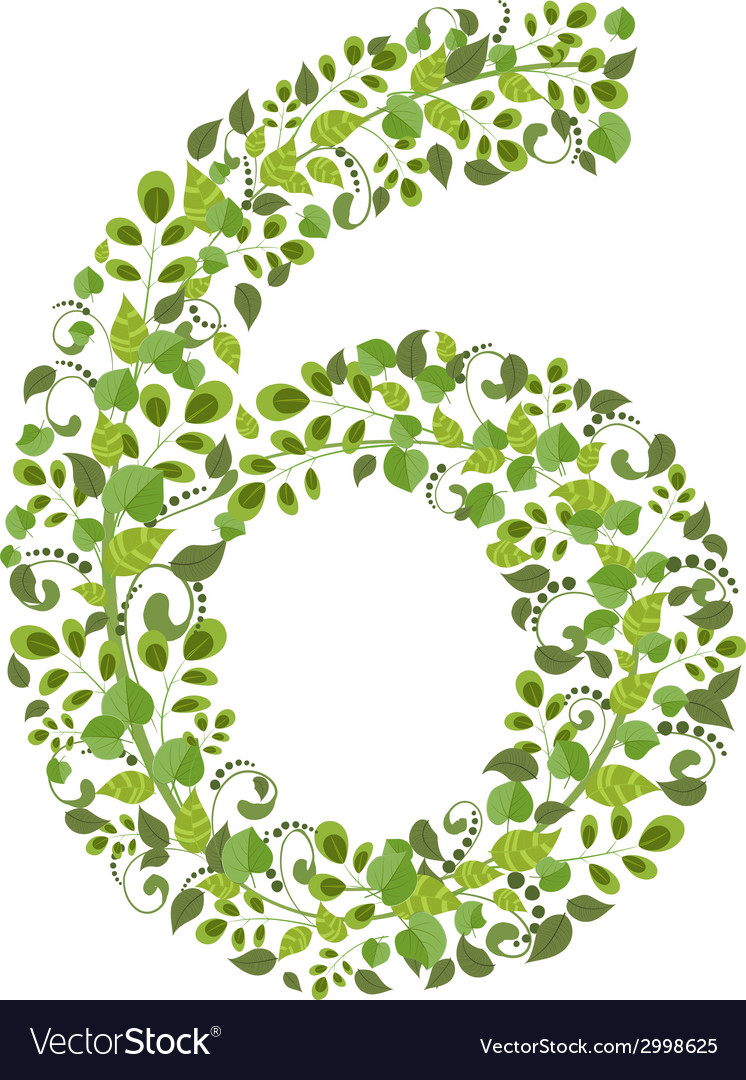 Spring green leaves eco number 6 vector | Price: 1 Credit (USD $1)