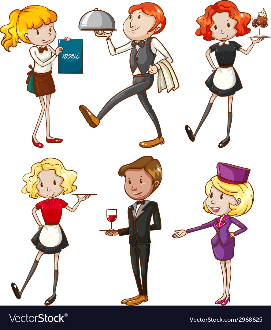 Waiters and waitresses vector | Price: 1 Credit (USD $1)