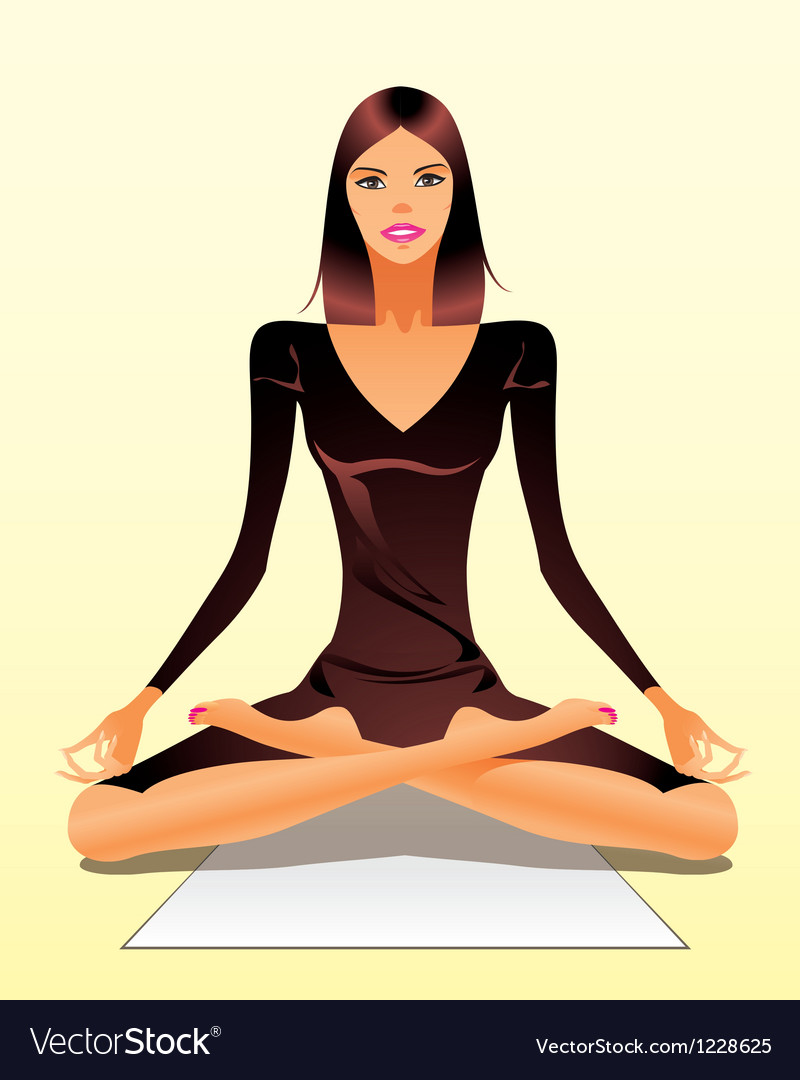 Woman exercising yoga meditation vector | Price: 3 Credit (USD $3)