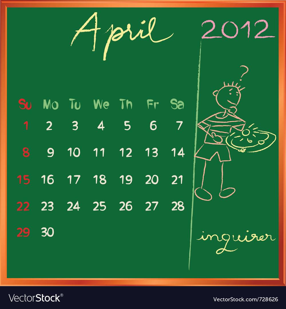 2012 calendar blackboard vector | Price: 1 Credit (USD $1)