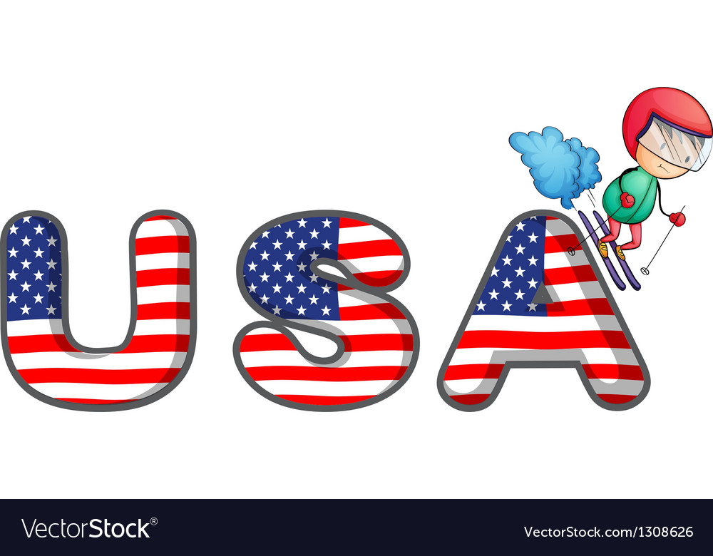 A boy skiing with the usa symbol vector | Price: 1 Credit (USD $1)