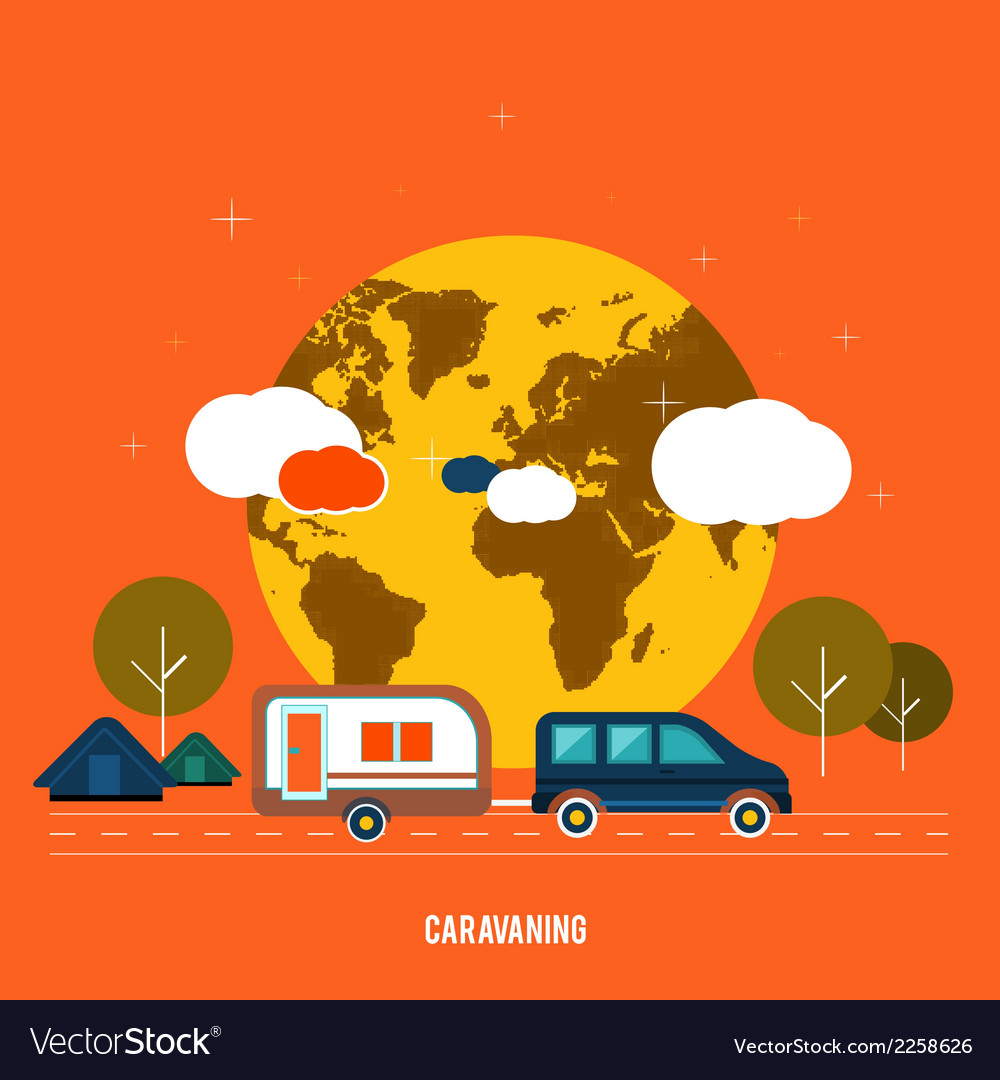 Caravaning near the tree caravaning tourism vector | Price: 1 Credit (USD $1)