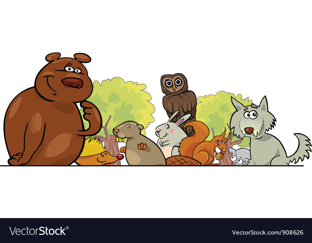 Cartoon forest animals vector | Price: 3 Credit (USD $3)