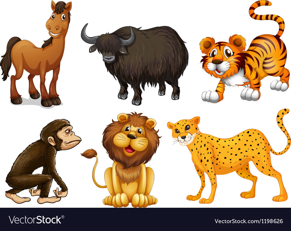 Different kinds of four-legged animals vector | Price: 1 Credit (USD $1)