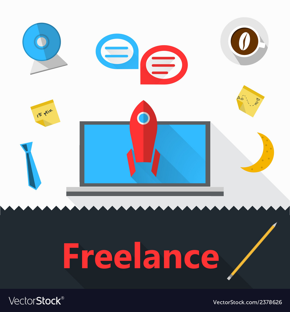 Flat icons for freelance or business vector | Price: 1 Credit (USD $1)