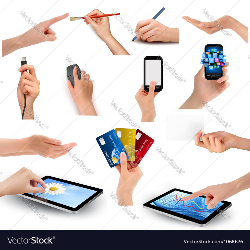 Hands holding business objects vector | Price: 5 Credit (USD $5)