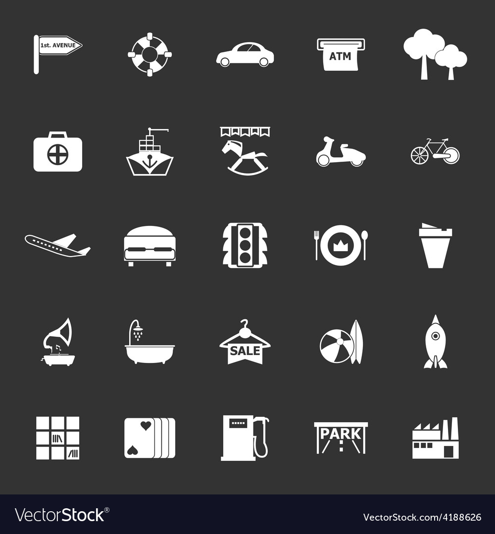 Map place icons on gray background vector | Price: 1 Credit (USD $1)