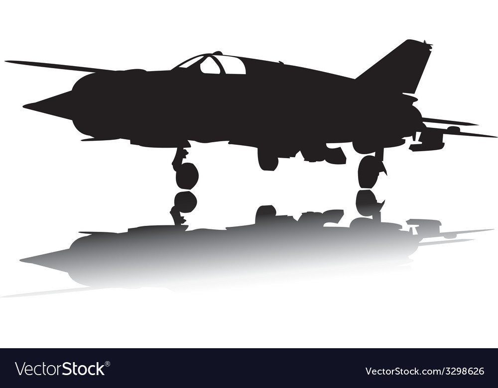 Military airplane silhouette vector | Price: 1 Credit (USD $1)