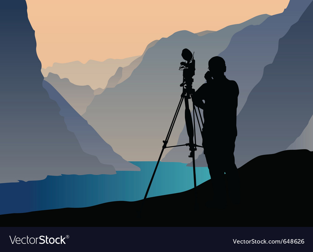 Photographer shooting at sunset vector | Price: 1 Credit (USD $1)