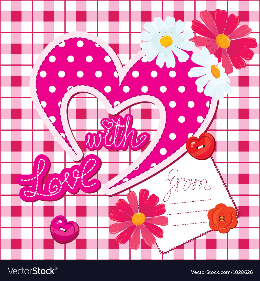 Romantic card with heart and flowers vector | Price: 1 Credit (USD $1)