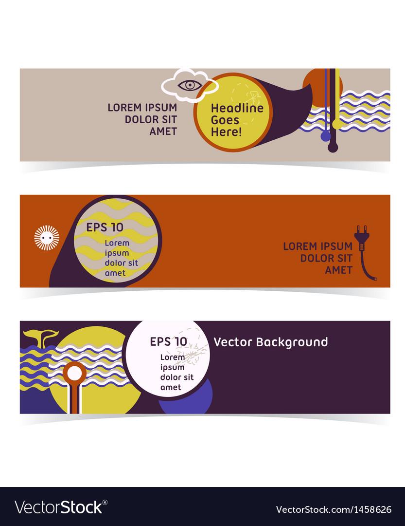 Set of horizontal banners headers editable design vector | Price: 1 Credit (USD $1)