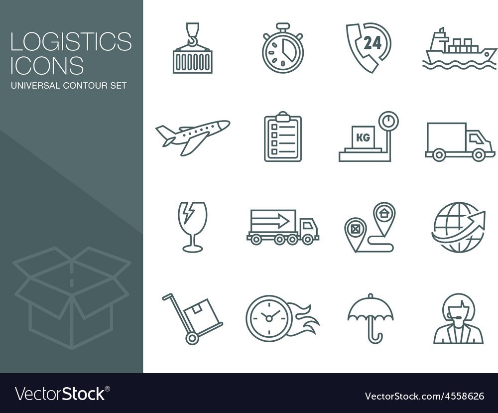 Transport icons thin line style flat vector | Price: 1 Credit (USD $1)
