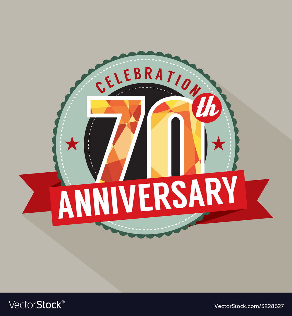 70th years anniversary celebration design vector | Price: 1 Credit (USD $1)