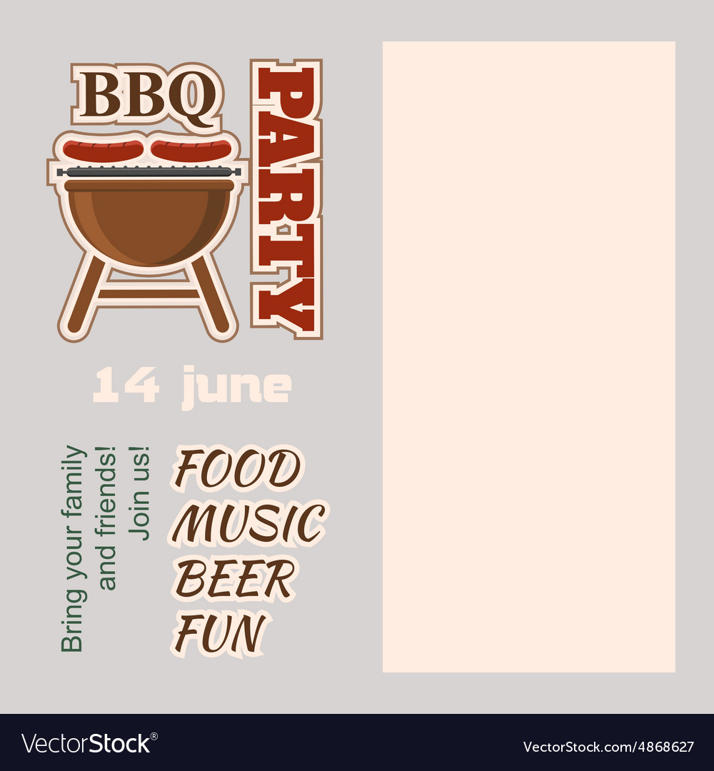 Bbq party invitation with copy space vector