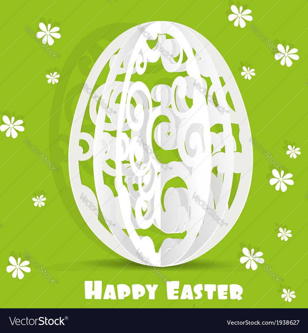Happy easter egg openwork appliques postcard vector | Price: 1 Credit (USD $1)