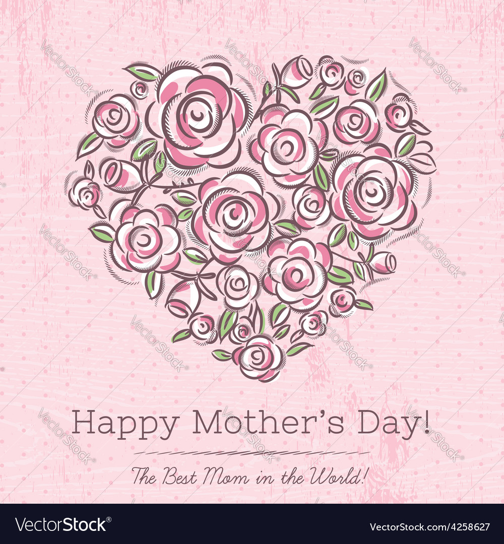 Pink card with heart of flowers for mothers day vector | Price: 1 Credit (USD $1)