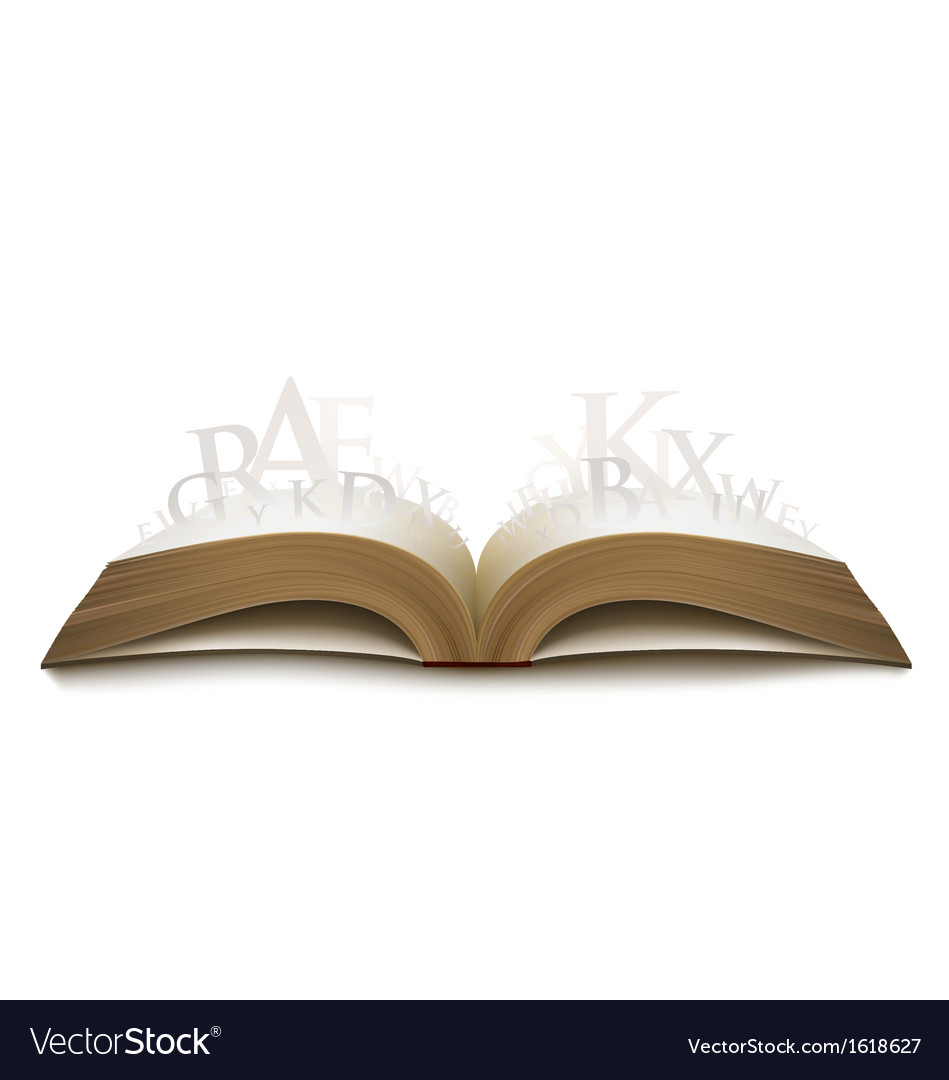 Realistic book with letters vector | Price: 1 Credit (USD $1)