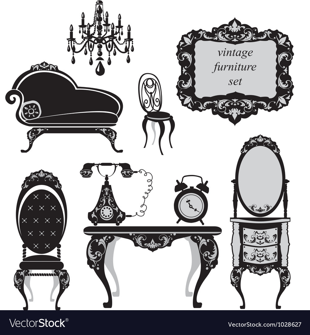Set of antique furniture  isolated black silhouet vector
