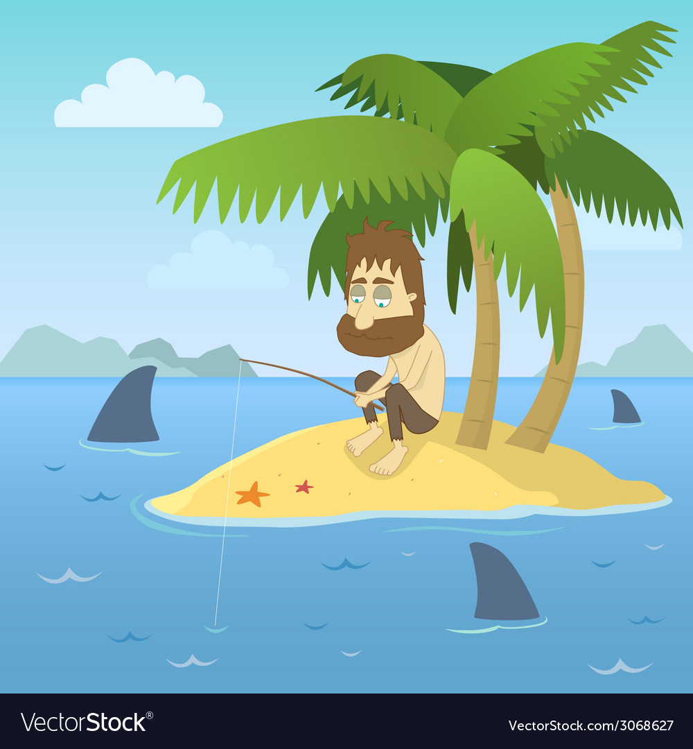 Shipwrecked guy vector | Price: 1 Credit (USD $1)