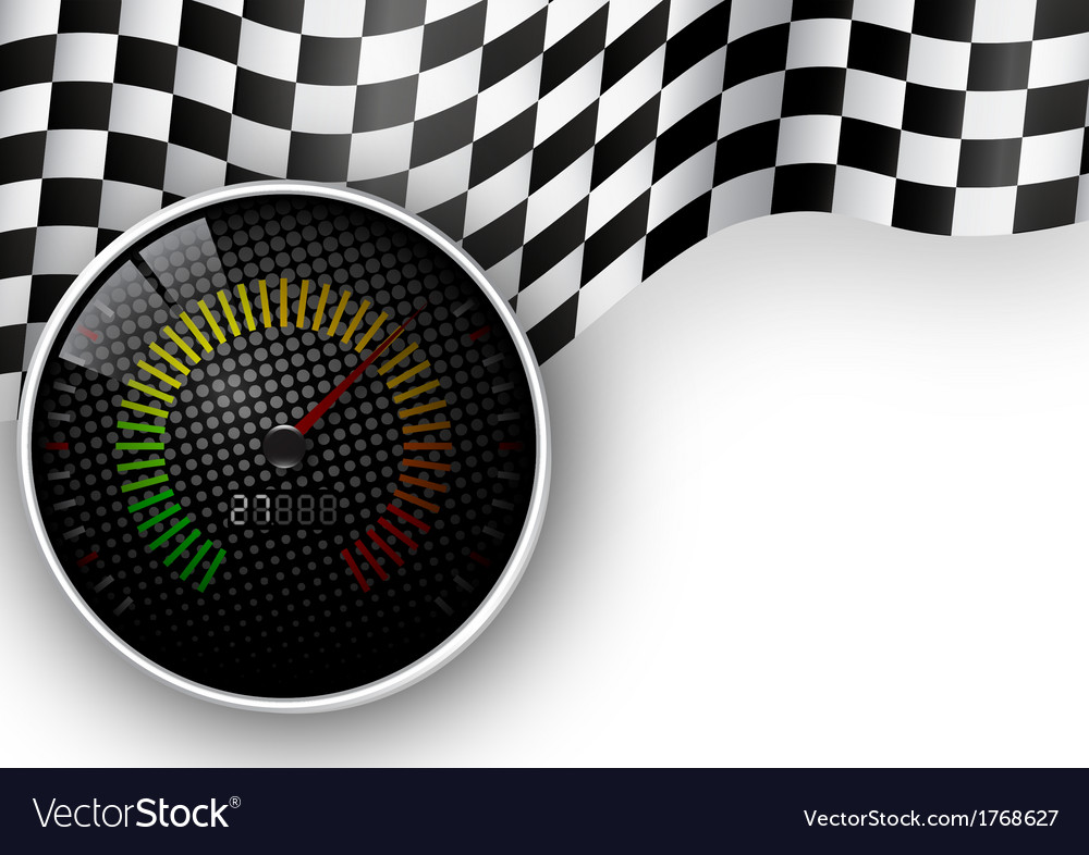 Speed meter and checkered flag background vector | Price: 1 Credit (USD $1)