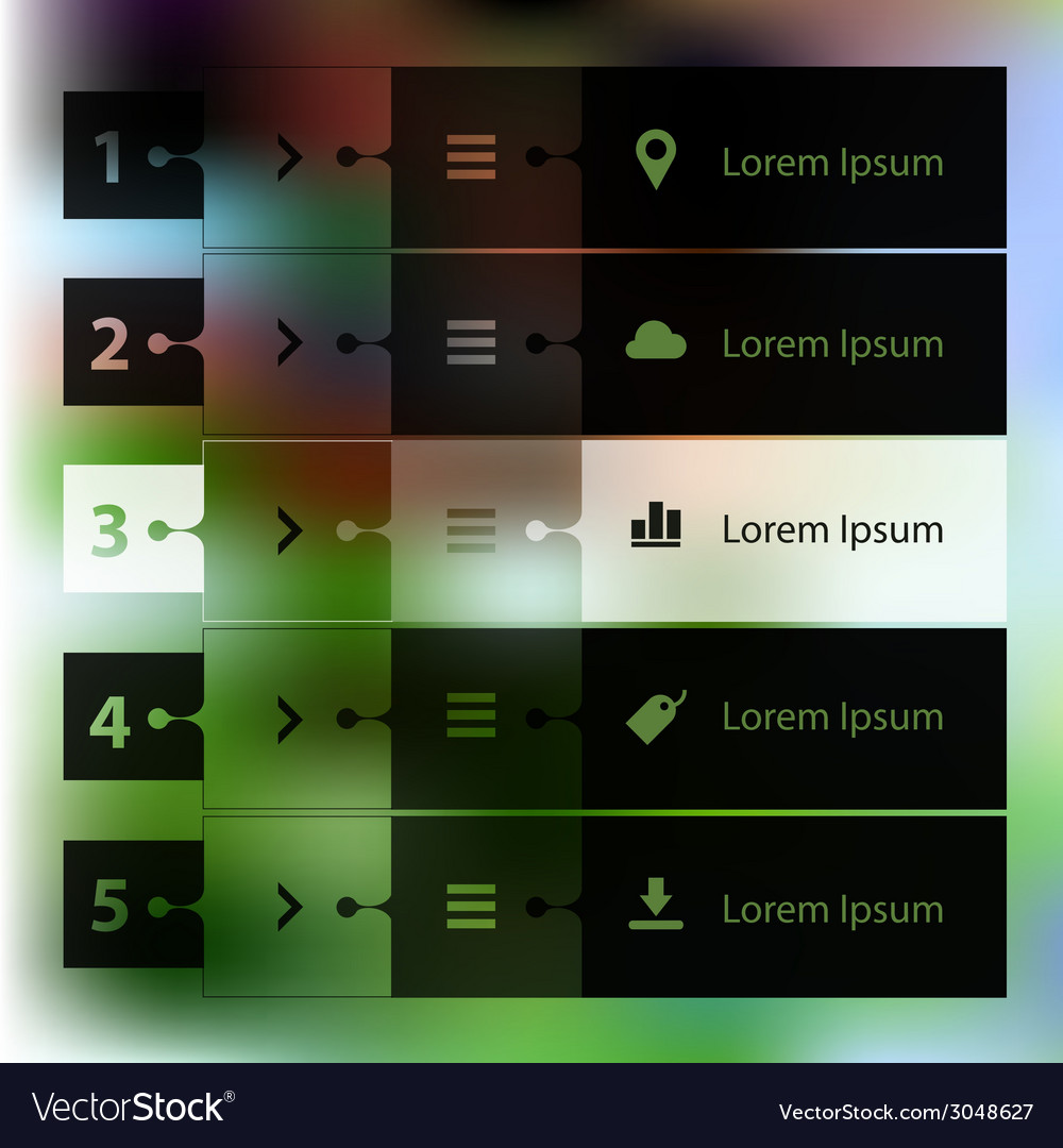 Step progress options banners on defocused vector | Price: 1 Credit (USD $1)