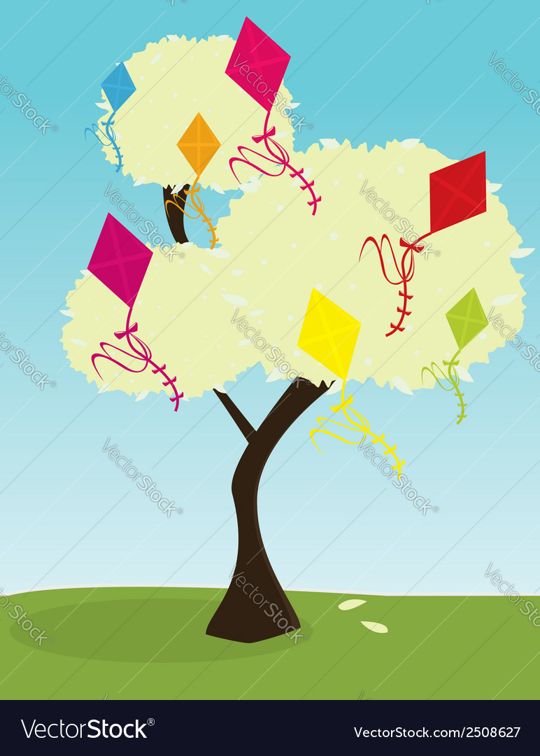 Tree with kites vector | Price: 1 Credit (USD $1)