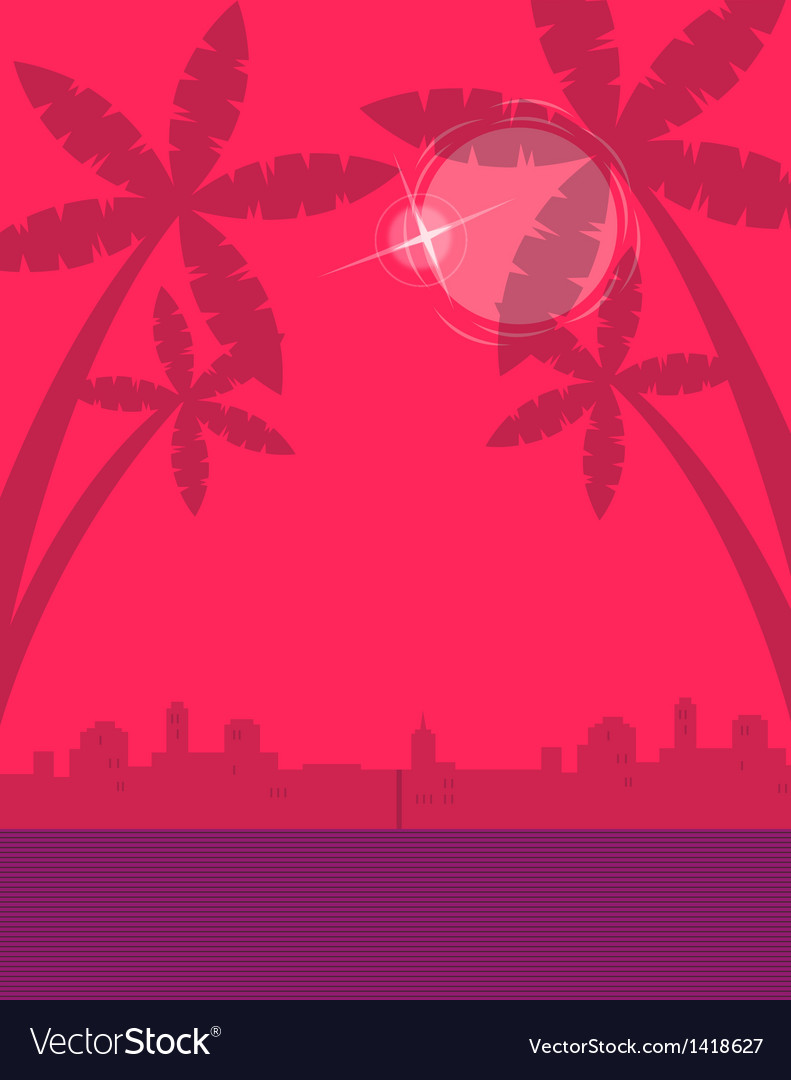 Tropical cityscape background vector | Price: 1 Credit (USD $1)