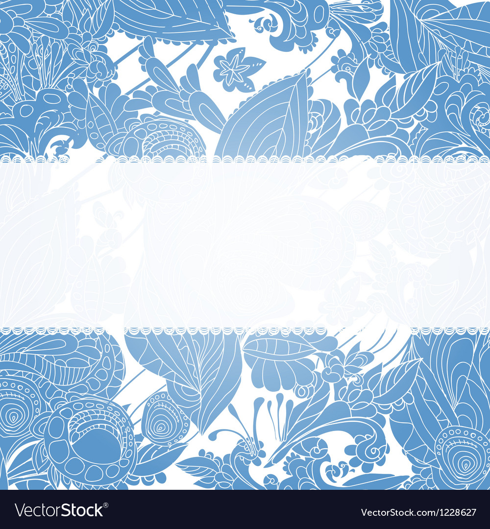 Vintage blue floral ornament background vector | Price: 1 Credit (USD $1)