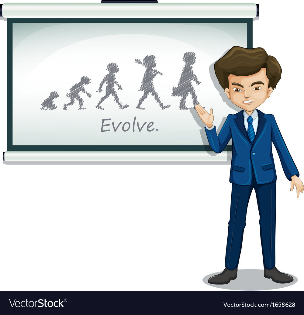A gentleman explaining the evolution of humans vector | Price: 3 Credit (USD $3)