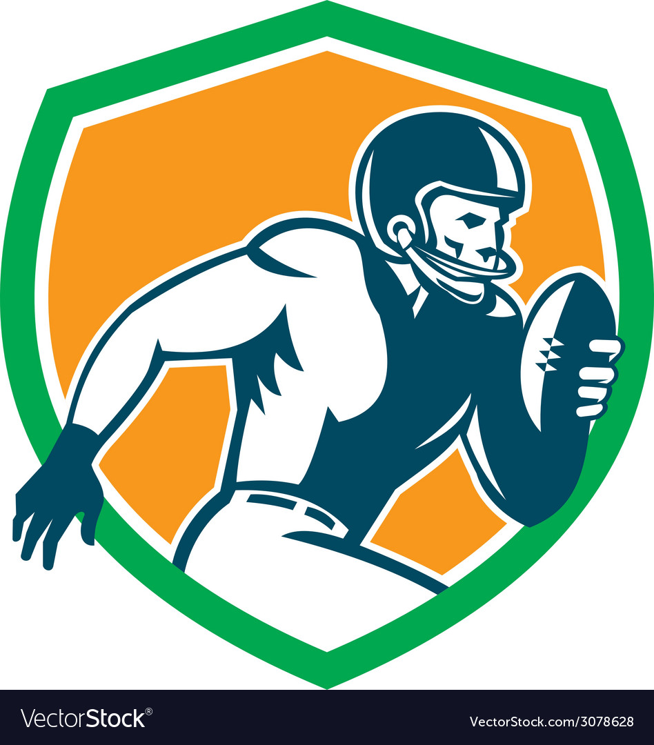 American football player running shield retro vector | Price: 1 Credit (USD $1)