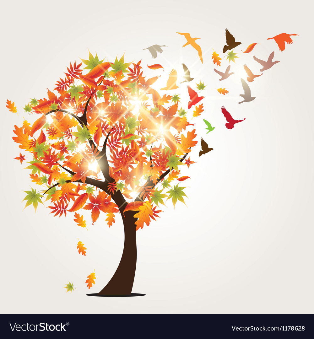 Autumn tree and birds vector | Price: 1 Credit (USD $1)