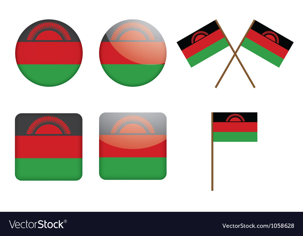 Badges with flags of malawi vector | Price: 1 Credit (USD $1)
