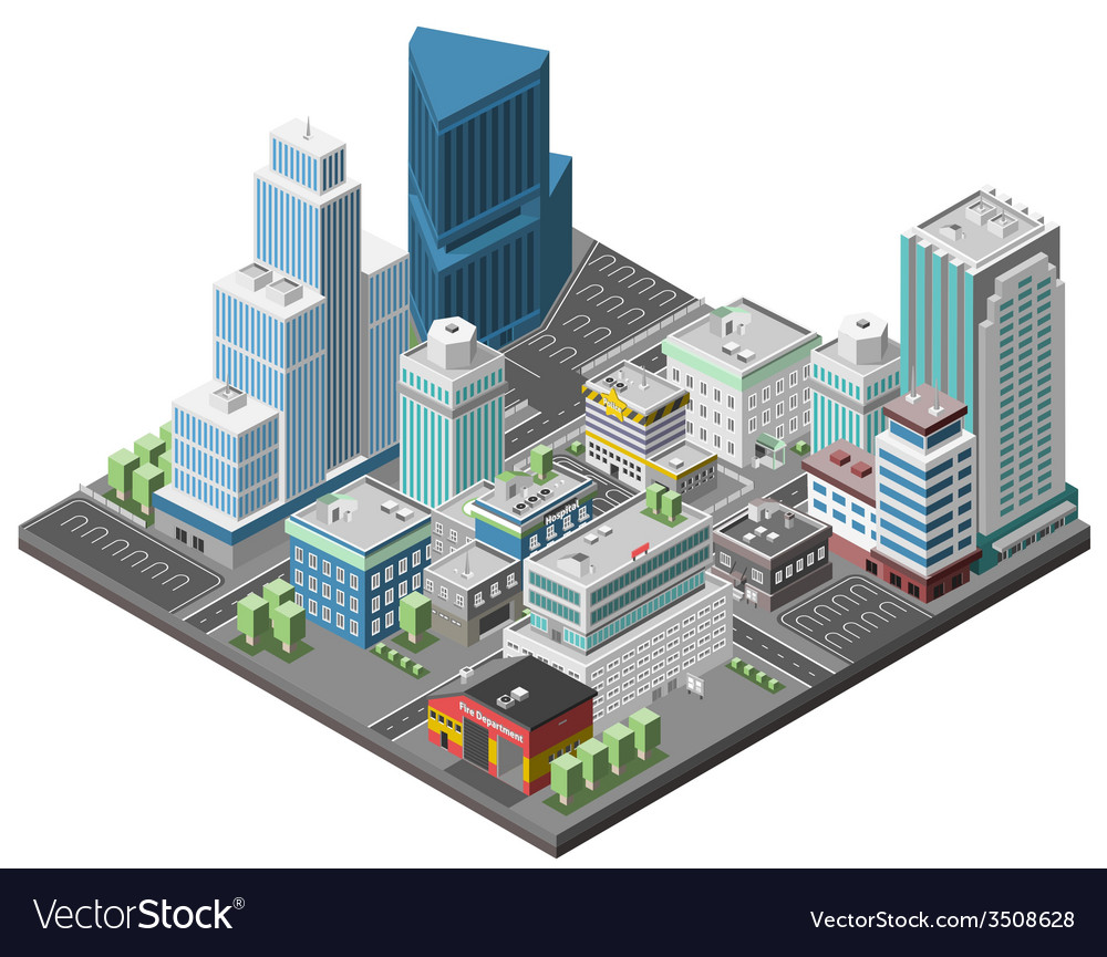 City downtown concept vector | Price: 1 Credit (USD $1)