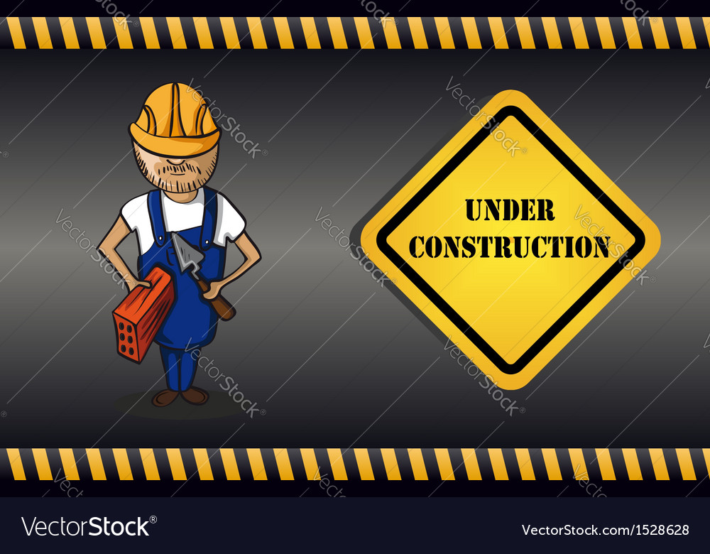 Constructor man cartoon under construction sign vector | Price: 1 Credit (USD $1)