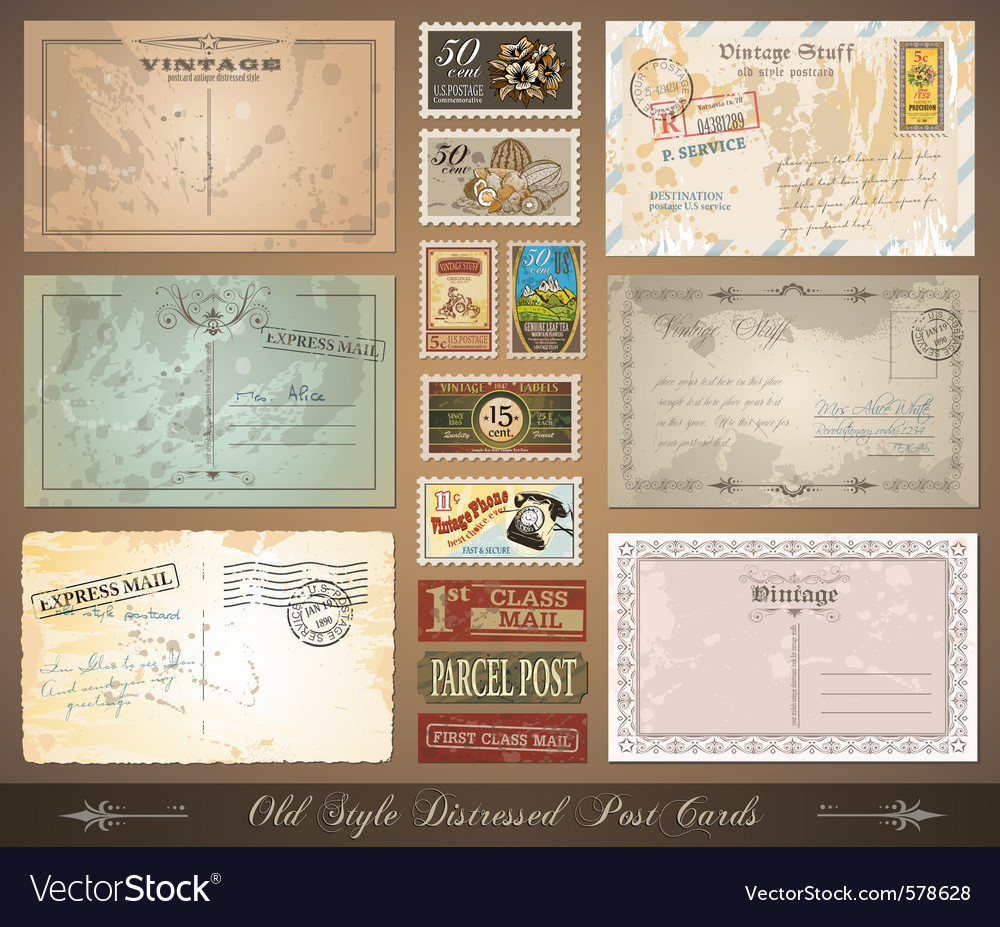 Distressed postcards vector | Price: 3 Credit (USD $3)