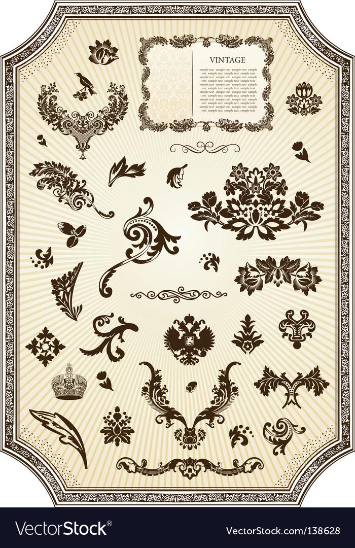Floral vintage royal design element vector | Price: 1 Credit (USD $1)