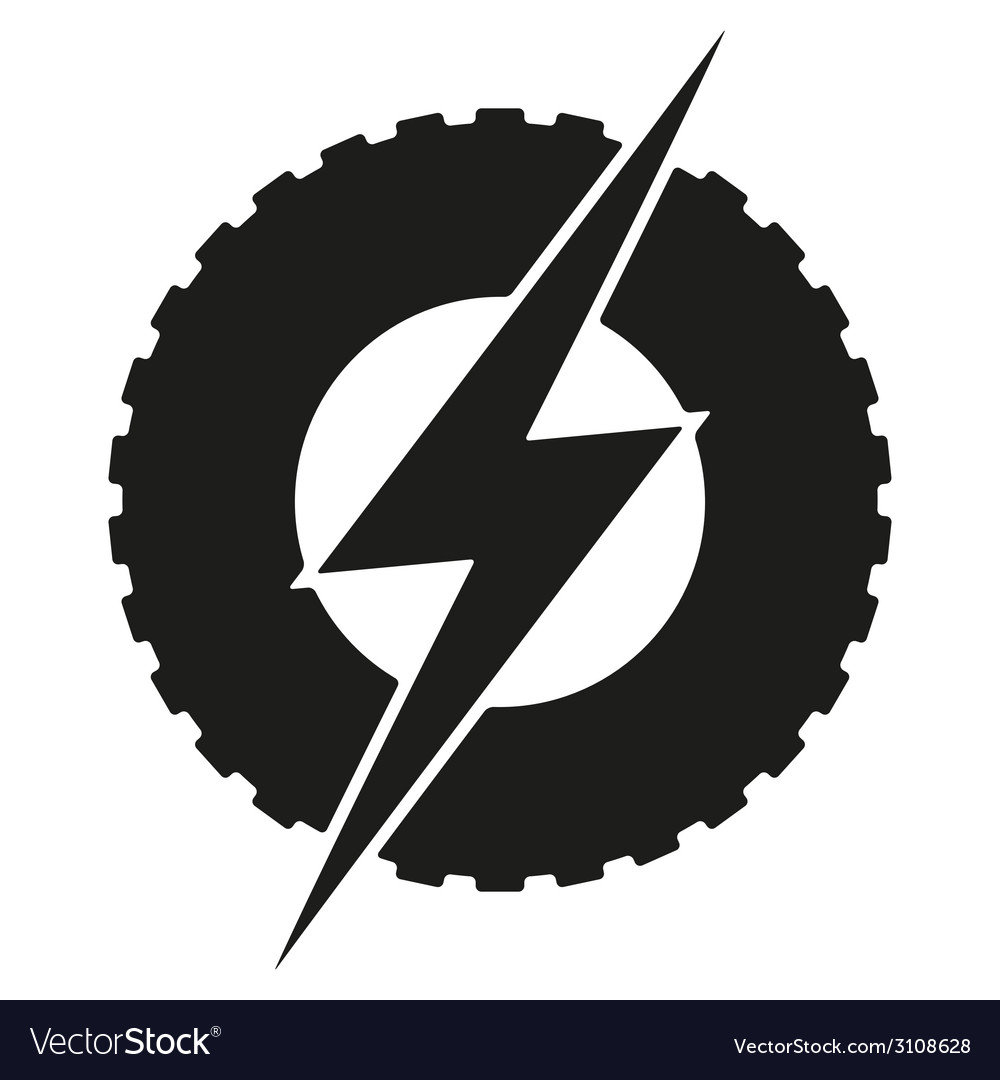 Logotype round wheel with lightning eco electric vector | Price: 1 Credit (USD $1)