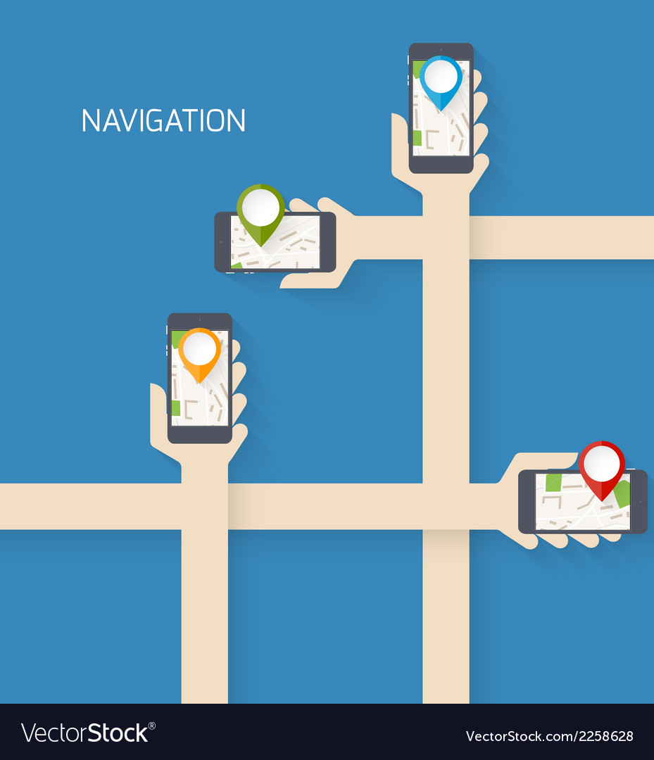 Navigation app vector | Price: 1 Credit (USD $1)