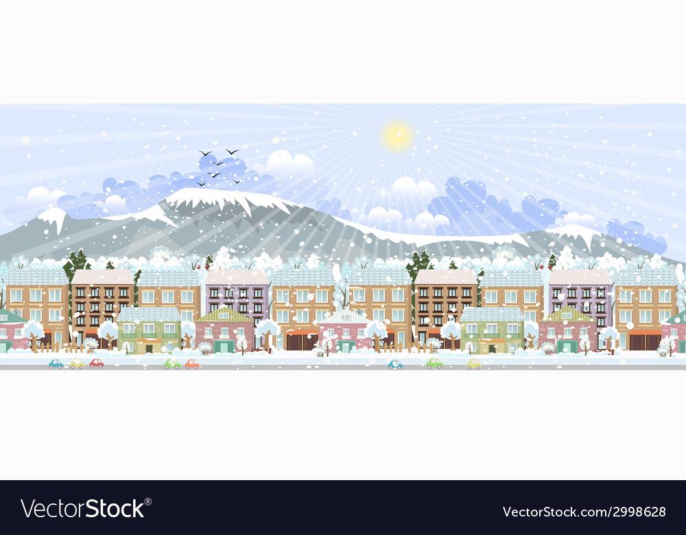 Panorama winter city life vector   Price: 1 Credit (USD $1)