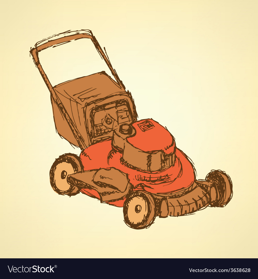 Sketch lawn mover in vintage style vector | Price: 1 Credit (USD $1)