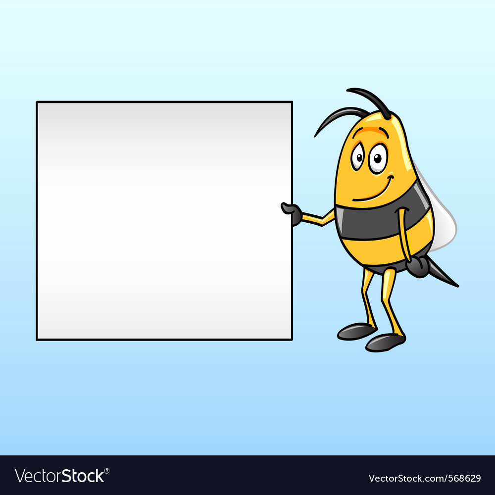 Bee holding a blank board vector | Price: 1 Credit (USD $1)