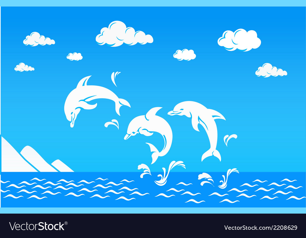 Dolphin in sea vector | Price: 1 Credit (USD $1)