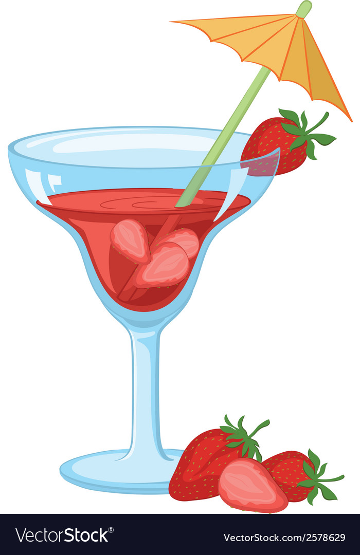 Glass with drink and strawberries vector | Price: 1 Credit (USD $1)
