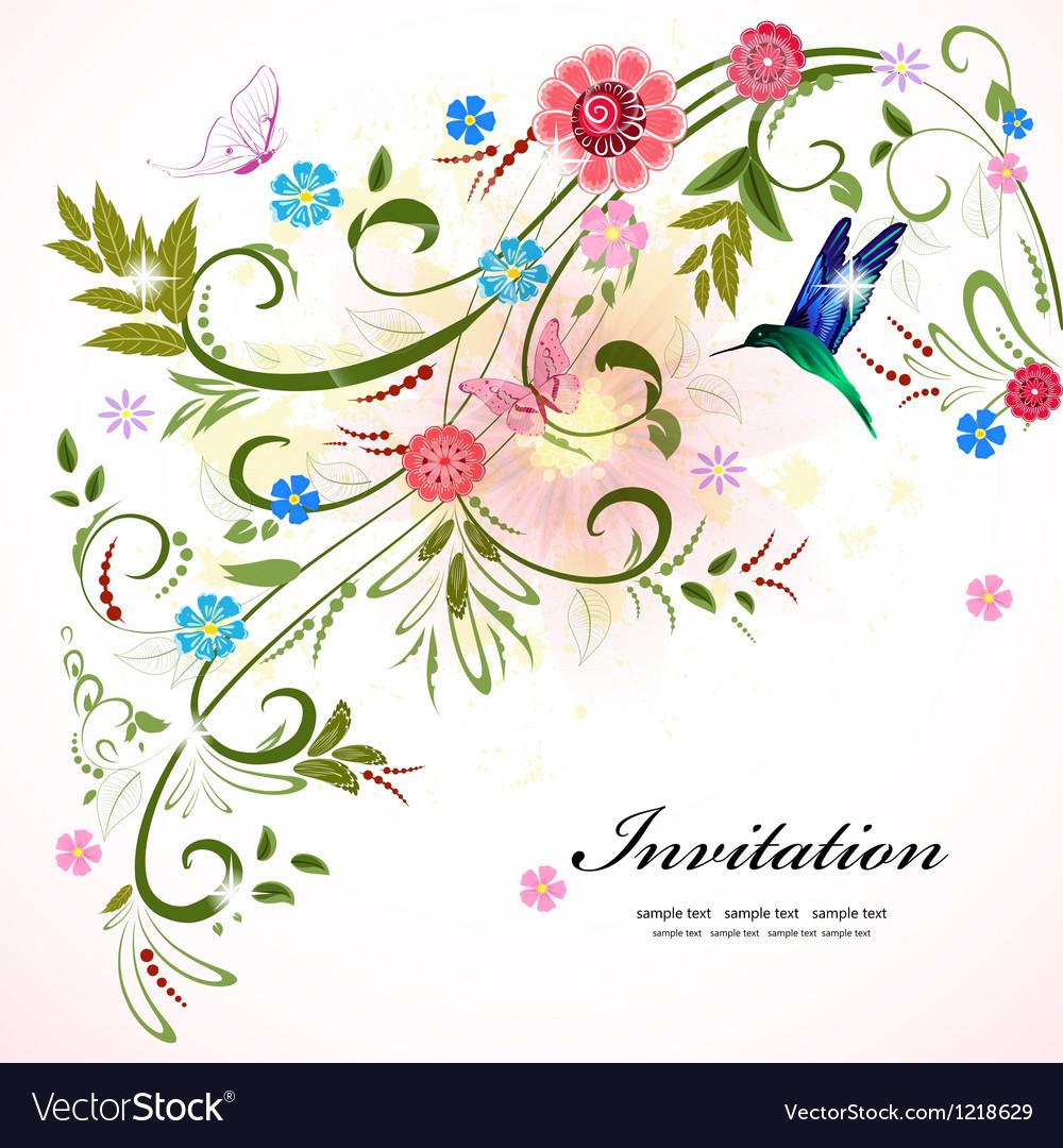 Invitation flower vector | Price: 1 Credit (USD $1)