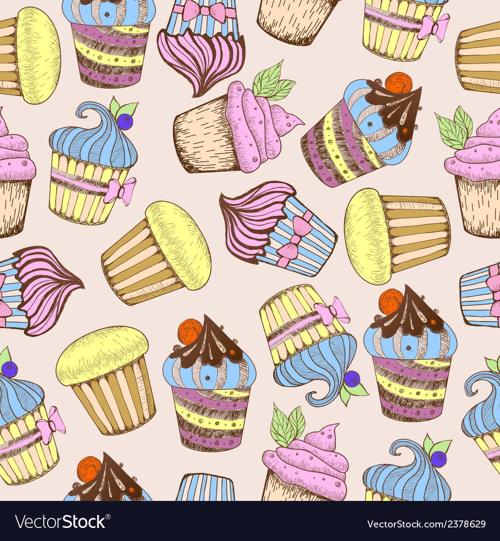 Seamless pattern decorative sweet cakes vector | Price: 1 Credit (USD $1)