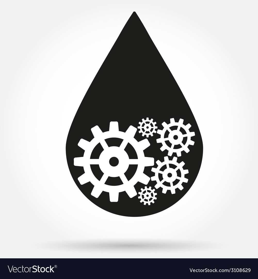 Silhouette symbol of oil industry drop with gears vector | Price: 1 Credit (USD $1)