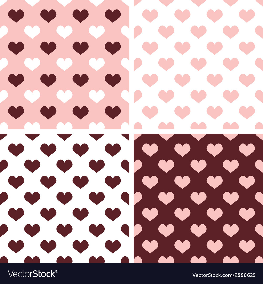 Tile hearts pink white brown background set vector | Price: 1 Credit (USD $1)