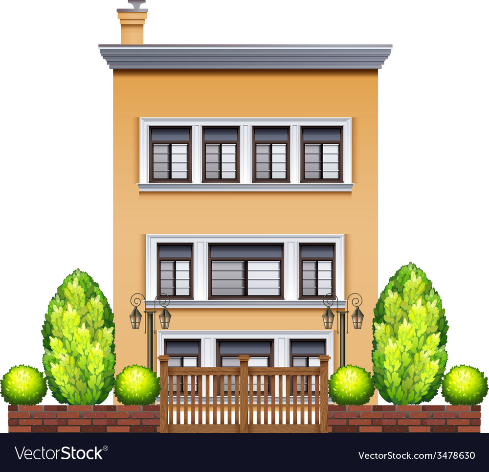 A commercial building with a fence vector | Price: 3 Credit (USD $3)