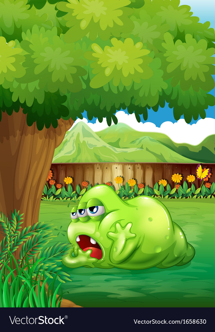 A tired green monster near the tree vector | Price: 3 Credit (USD $3)
